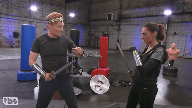 Gal Gadot Tries To Teach Conan To Fight Like 'Wonder Woman'