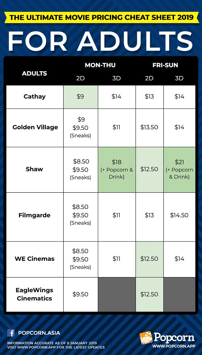 Adults Movie Ticket Pricing Singapore