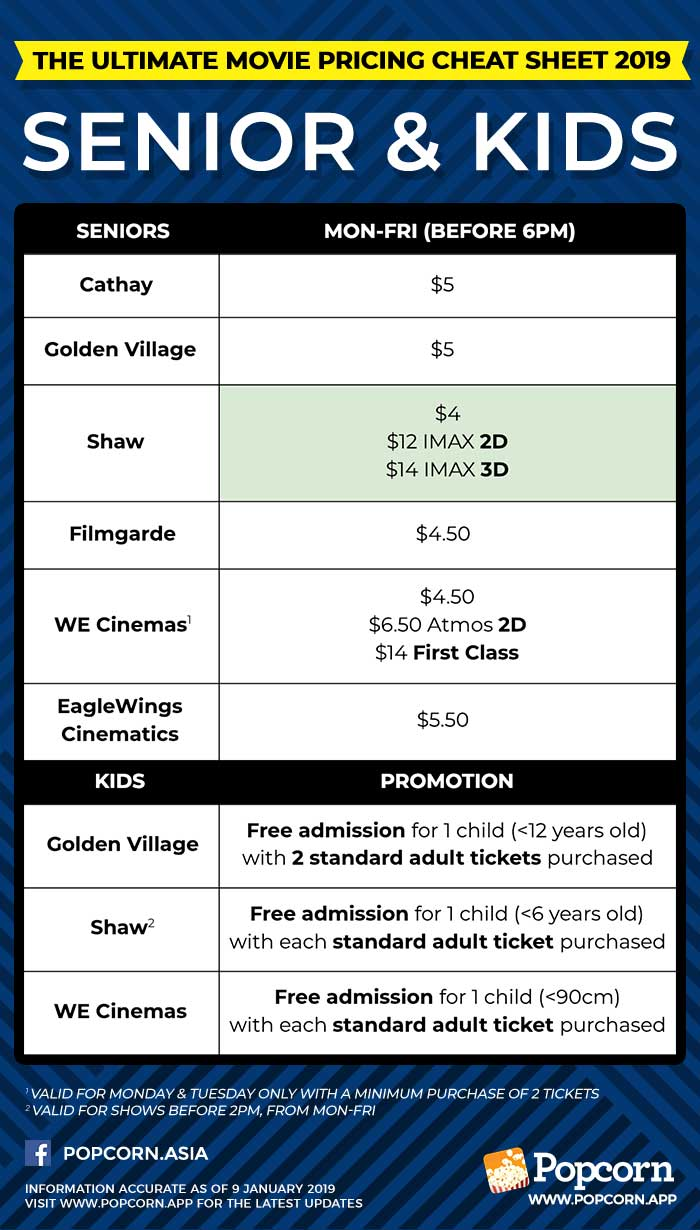 Senior Citizens and Kids Movie Ticket Pricing Singapore